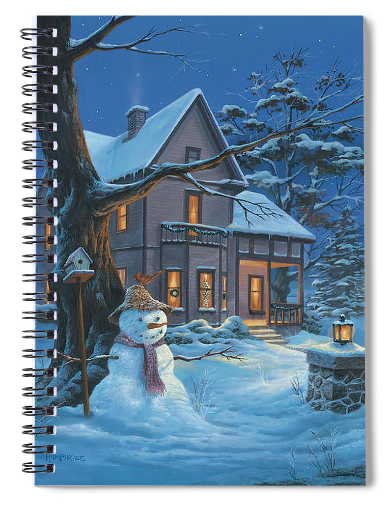 Michael Humphries Spiral Notebook featuring the painting Once Upon A Winter's Night by Michael Humphries