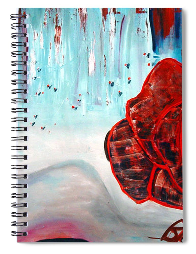 Landscape Spiral Notebook featuring the painting OP and rose by Peggy Blood