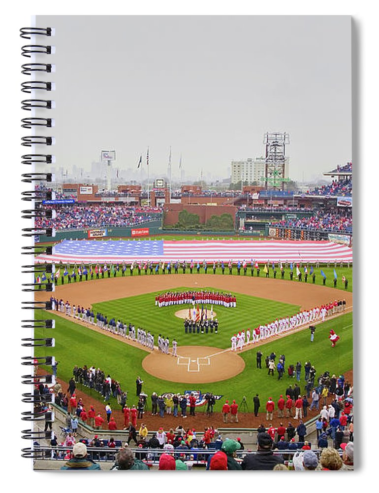 Photography Spiral Notebook featuring the photograph Opening Day Ceremonies Featuring by Panoramic Images