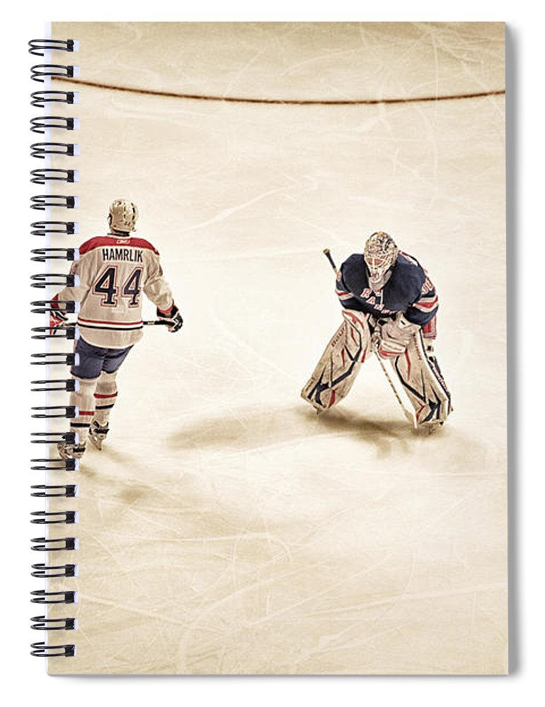 Hockey Spiral Notebook featuring the photograph Opponents by Karol Livote