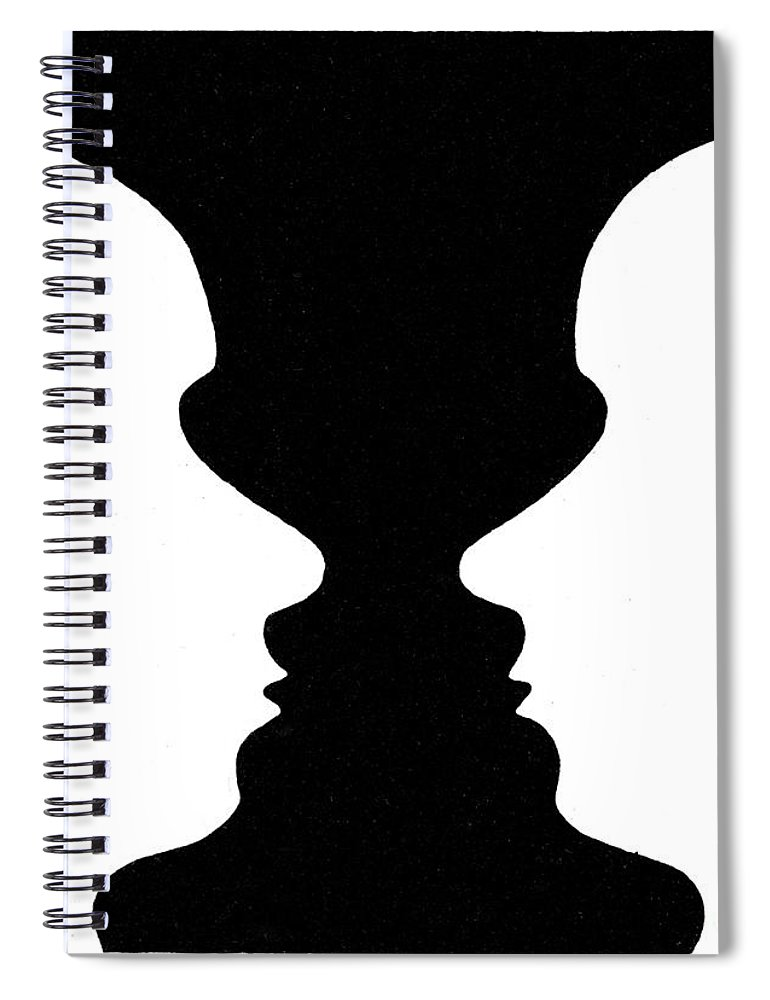 Optical Illusion Rubins Vase 1915 Spiral Notebook For Sale By