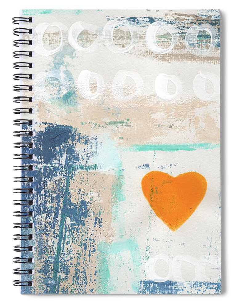 Heart Spiral Notebook featuring the painting Orange Heart- abstract painting by Linda Woods