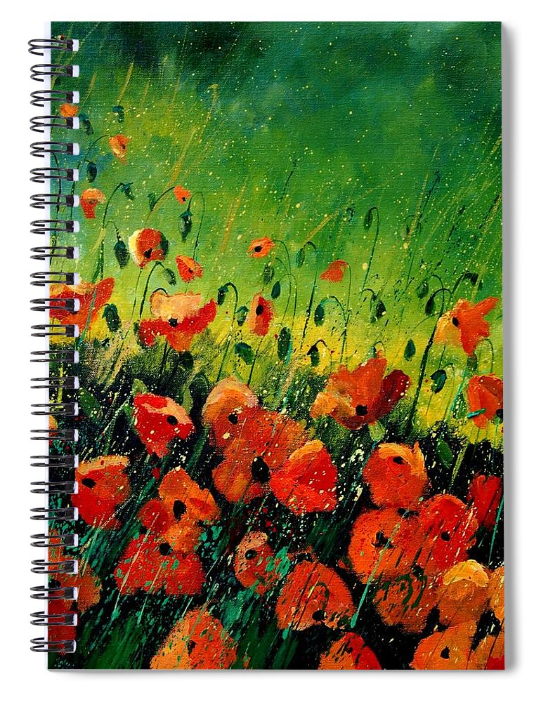 Poppies Spiral Notebook featuring the painting Orange poppies by Pol Ledent