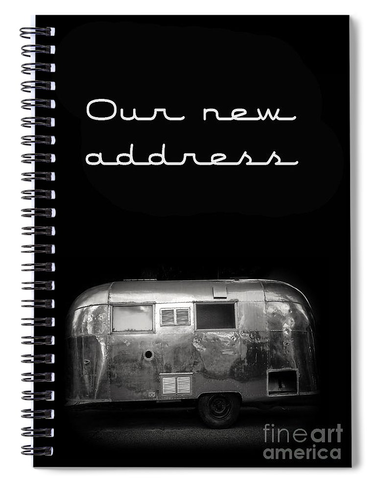 Black Spiral Notebook featuring the photograph Our New Address Announcement Card by Edward Fielding
