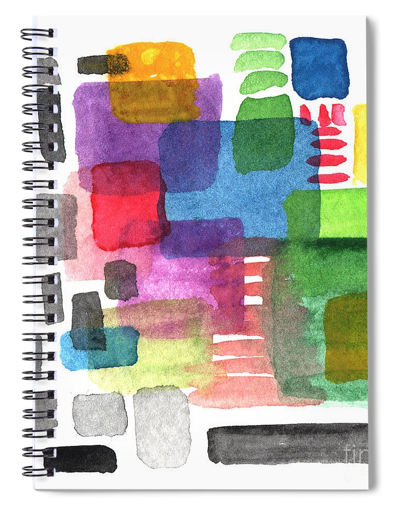 Squares Spiral Notebook featuring the painting Out Of The Box by Linda Woods