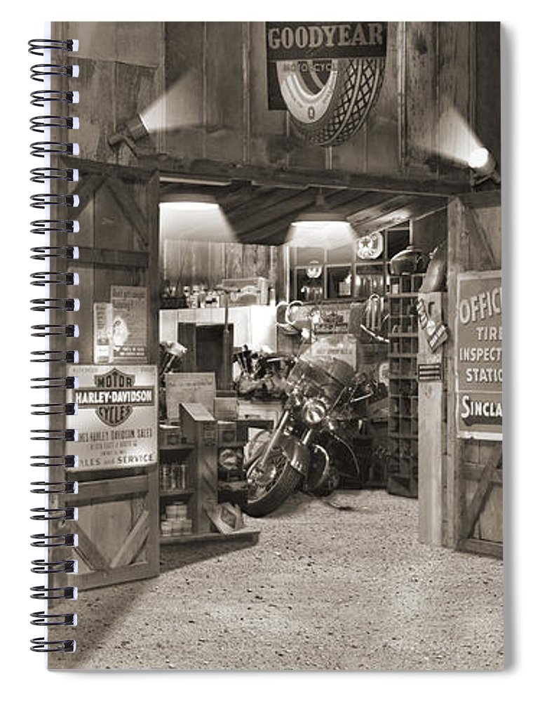 Motorcycle Spiral Notebook featuring the photograph Outside The Old Motorcycle Shop - Spia by Mike McGlothlen