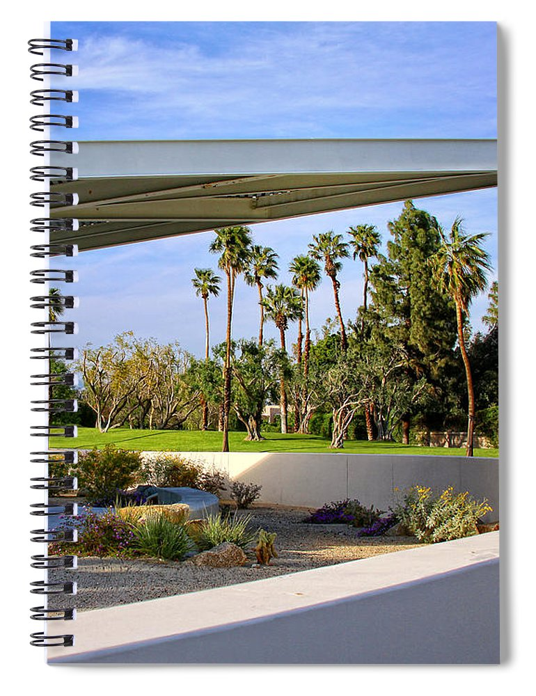 Palm Springs Spiral Notebook featuring the photograph OVERHANG Palm Springs Tram Station by William Dey