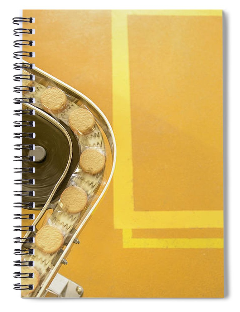 Manufacturing Equipment Spiral Notebook featuring the photograph Overhead View Of Freshly Made Biscuits by Monty Rakusen