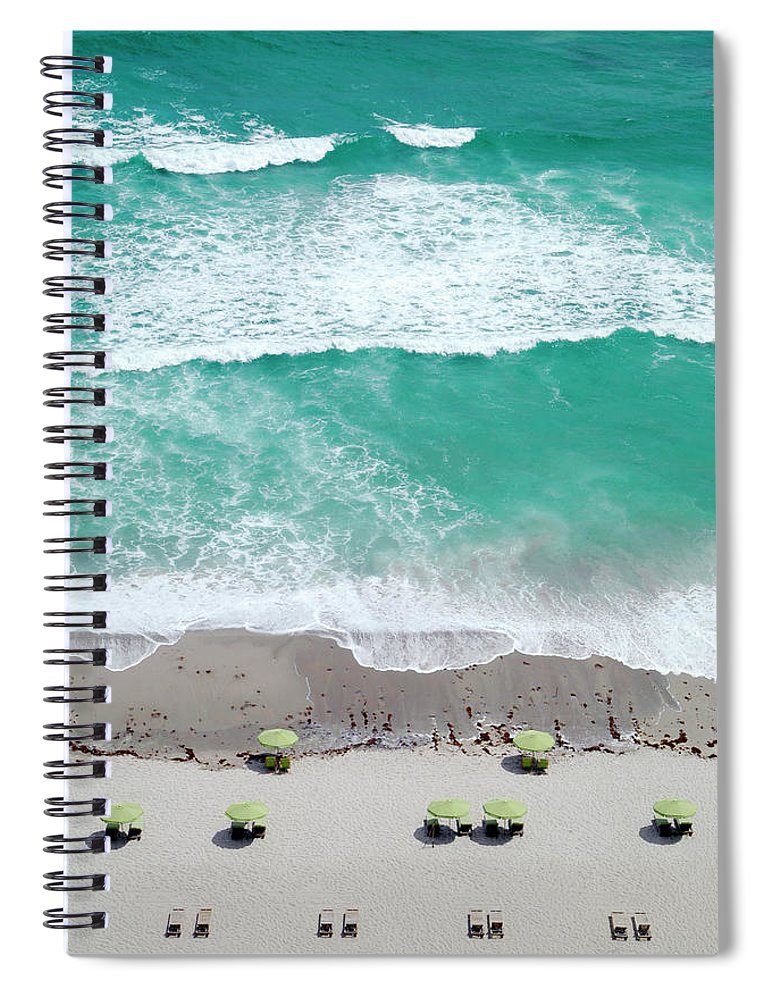 Vacations Spiral Notebook featuring the photograph Overhead Wide Angle Of The Beach by Bauhaus1000