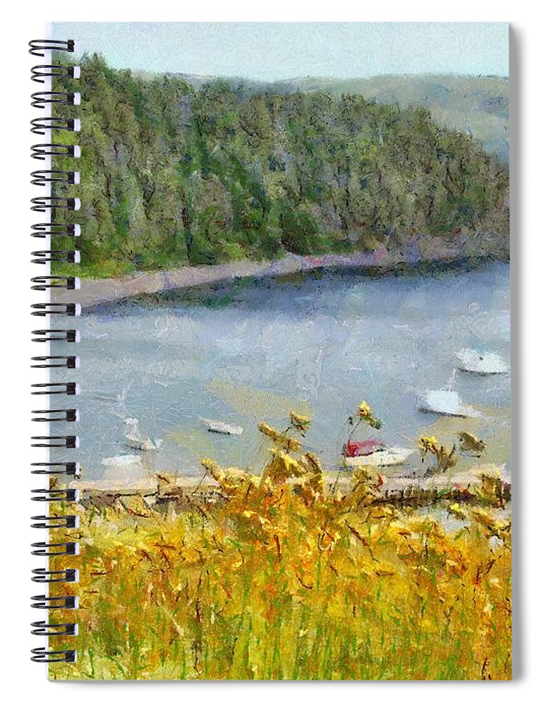 Canadian Spiral Notebook featuring the painting Overlooking the Harbor by Jeffrey Kolker