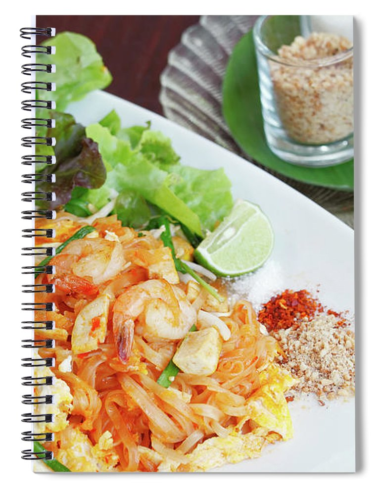 Prawn Spiral Notebook featuring the photograph Pad Thai by Tommyix