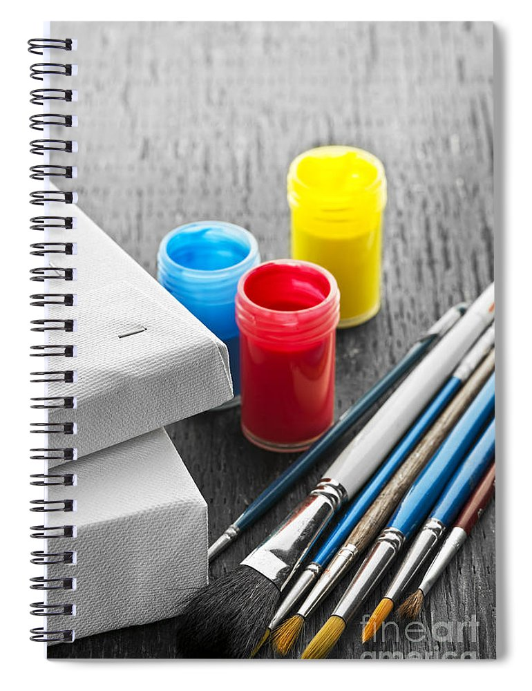 Brushes Spiral Notebook featuring the photograph Paintbrushes With Canvas by Elena Elisseeva