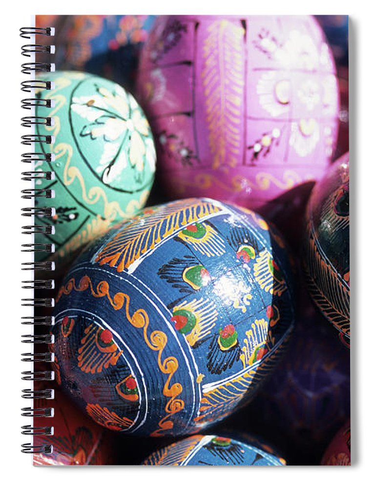 Event Spiral Notebook featuring the photograph Painted Easter Eggs by Holger Leue