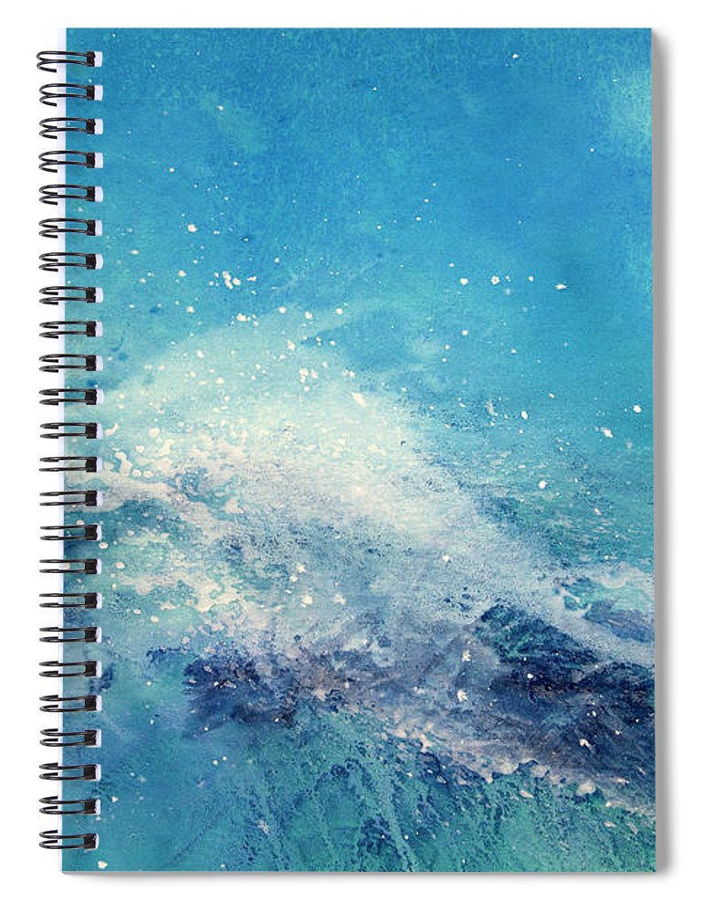 Gouache Spiral Notebook featuring the digital art Painting Of An Ocean Wave by Brad Rickerby