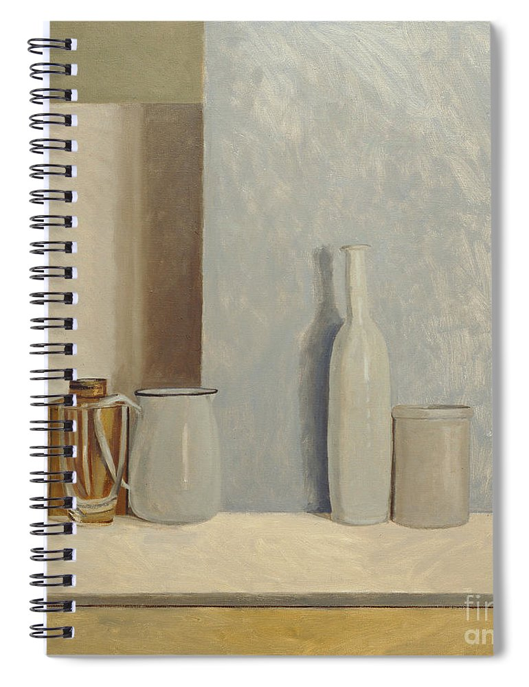 Still Life Spiral Notebook featuring the painting Pale Grey And Blue by William Packer