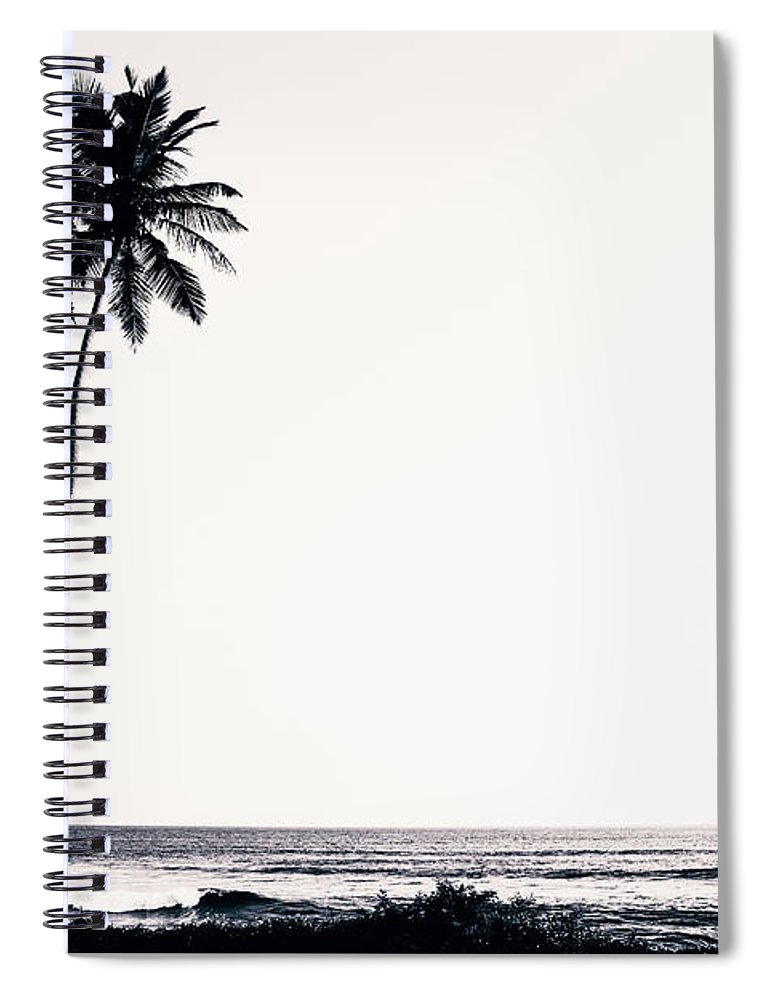 Empty Spiral Notebook featuring the photograph Palm Trees And Beach Silhouette by Chrispecoraro