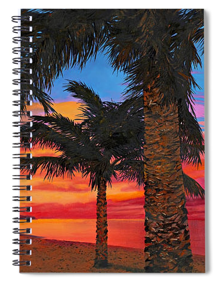 Seacape Spiral Notebook featuring the painting Palme Al Tramonto by Guido Borelli