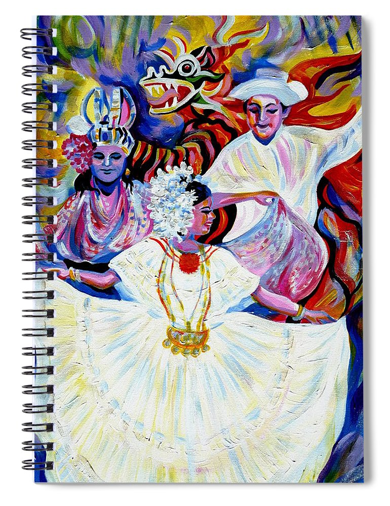 Travel Spiral Notebook featuring the painting Panama Carnival. Fiesta by Anna Duyunova