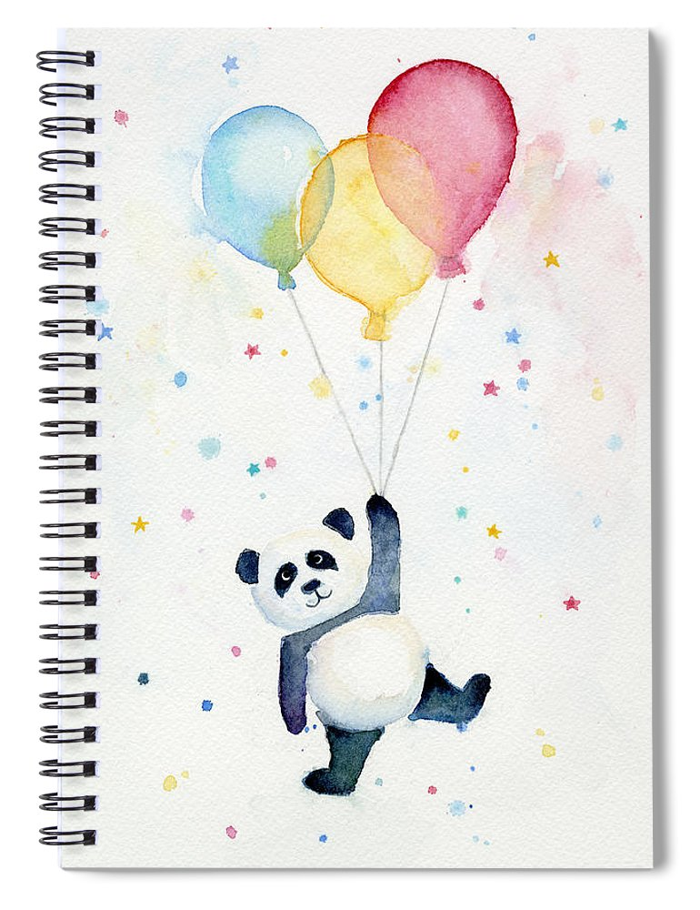 Panda Spiral Notebook featuring the painting Panda Floating With Balloons by Olga Shvartsur