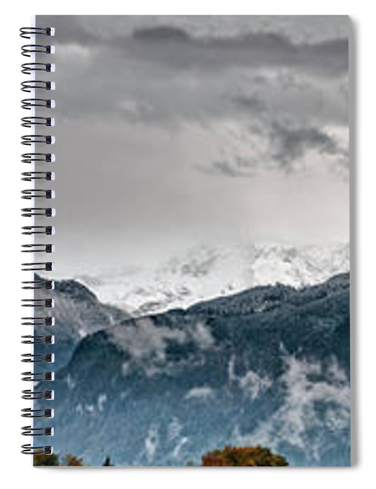 Extreme Terrain Spiral Notebook featuring the photograph Panorama Of The Berchtesgaden Alps by Delectus