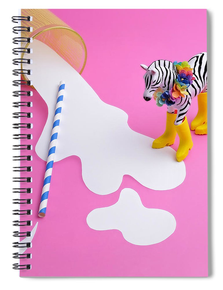 Milk Spiral Notebook featuring the photograph Paper Craft Glass Of Spilled Milk With by Juj Winn