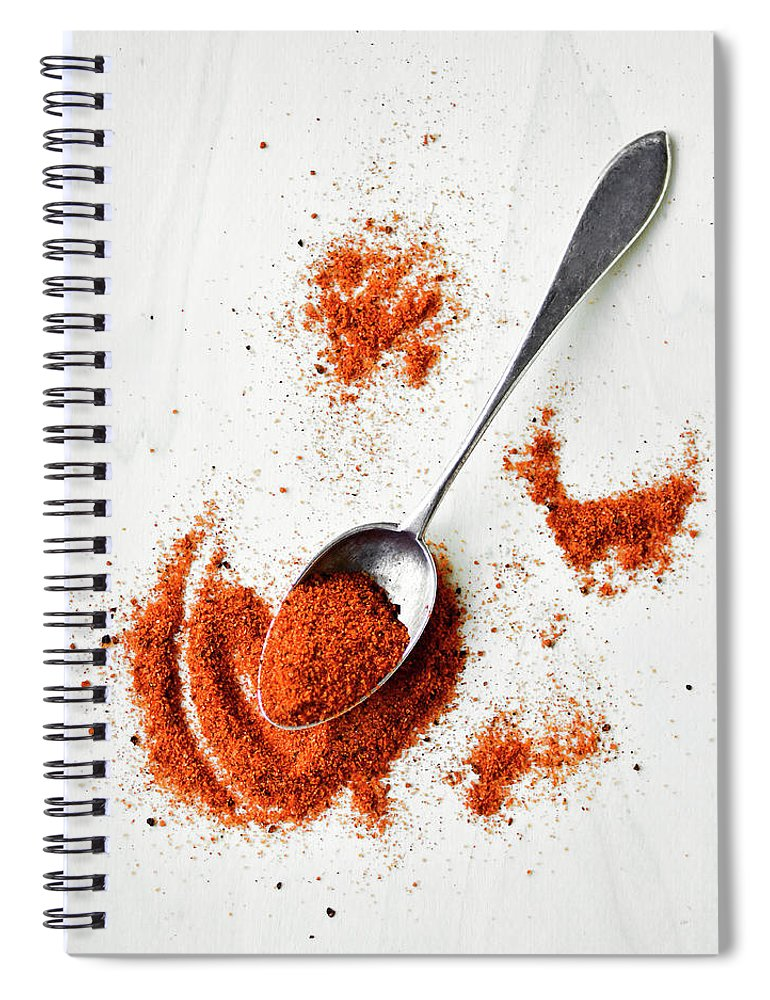 Atlanta Spiral Notebook featuring the photograph Paprika Powder In A Spoon by Natalia Ganelin
