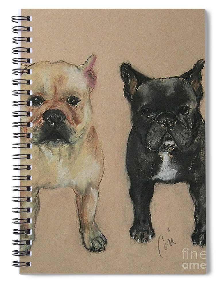 French Bulldog Spiral Notebook featuring the pastel Pardon My French by Cori Solomon