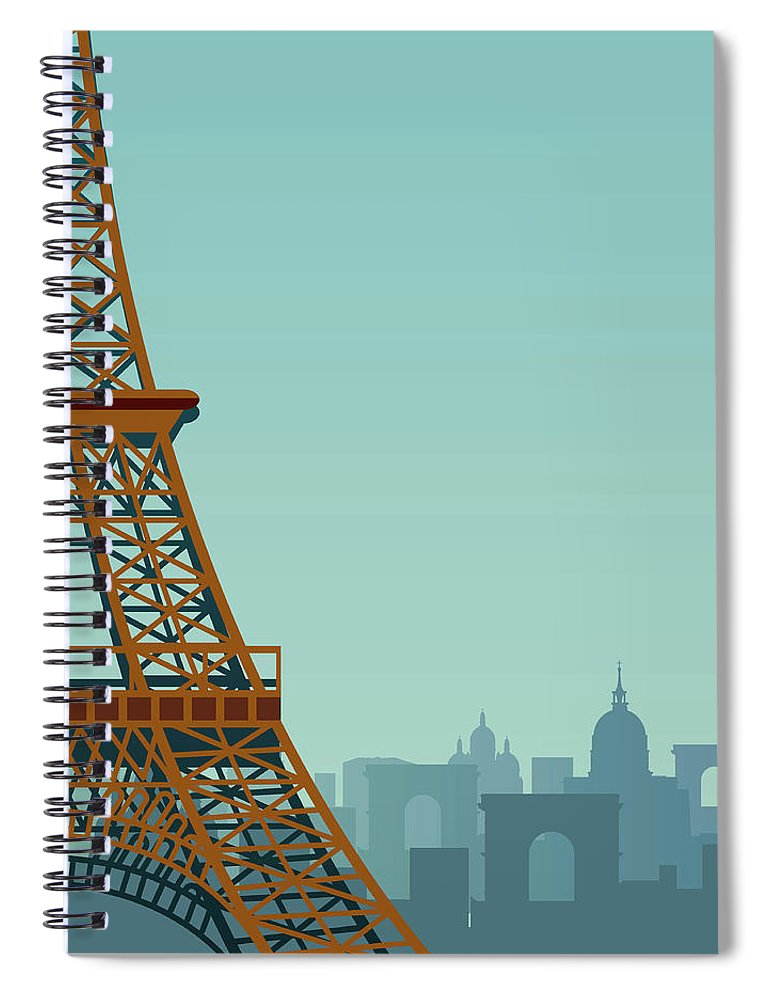 Built Structure Spiral Notebook featuring the digital art Paris by Drmakkoy