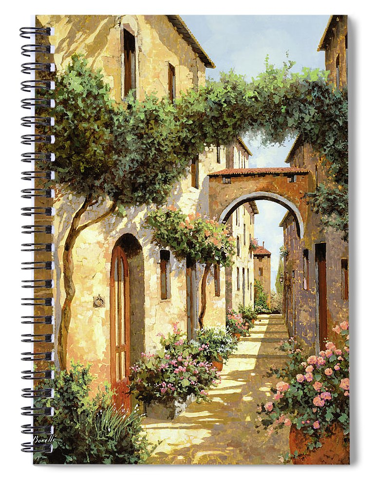 Landscape Spiral Notebook featuring the painting Passando Sotto L'arco by Guido Borelli