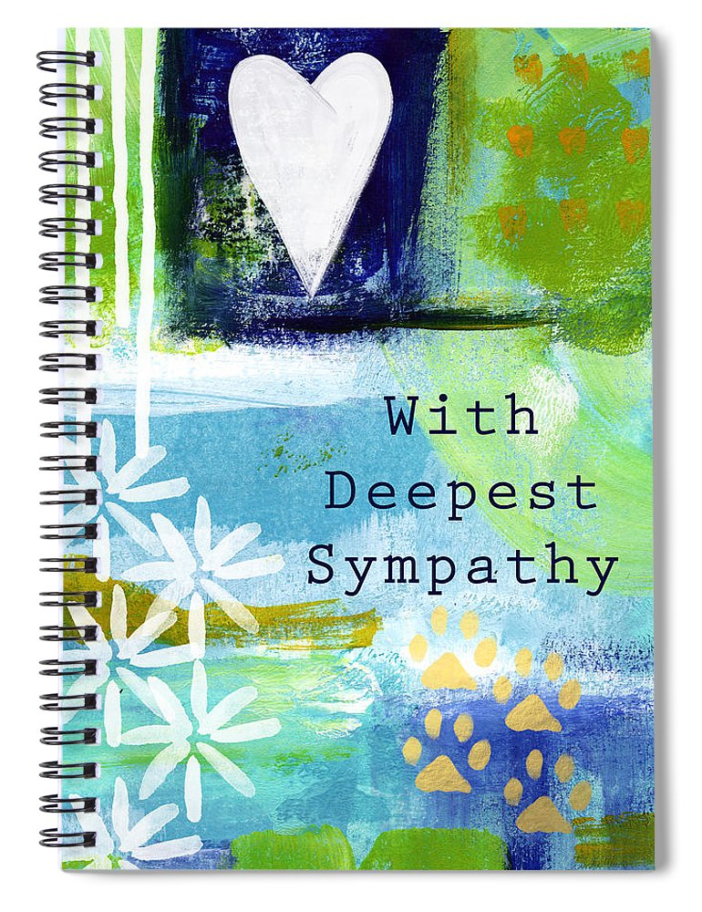 Pet Sympathy Card Spiral Notebook featuring the painting Paw Prints And Heart Sympathy Card by Linda Woods