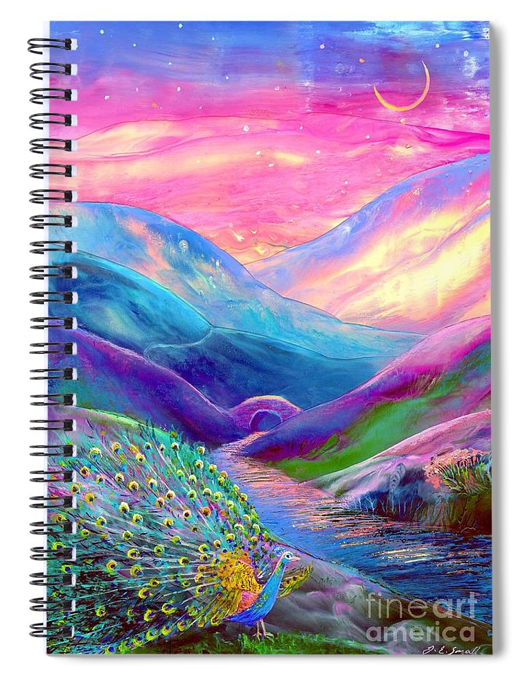 Sunset Spiral Notebook featuring the painting Peacock Magic by Jane Small