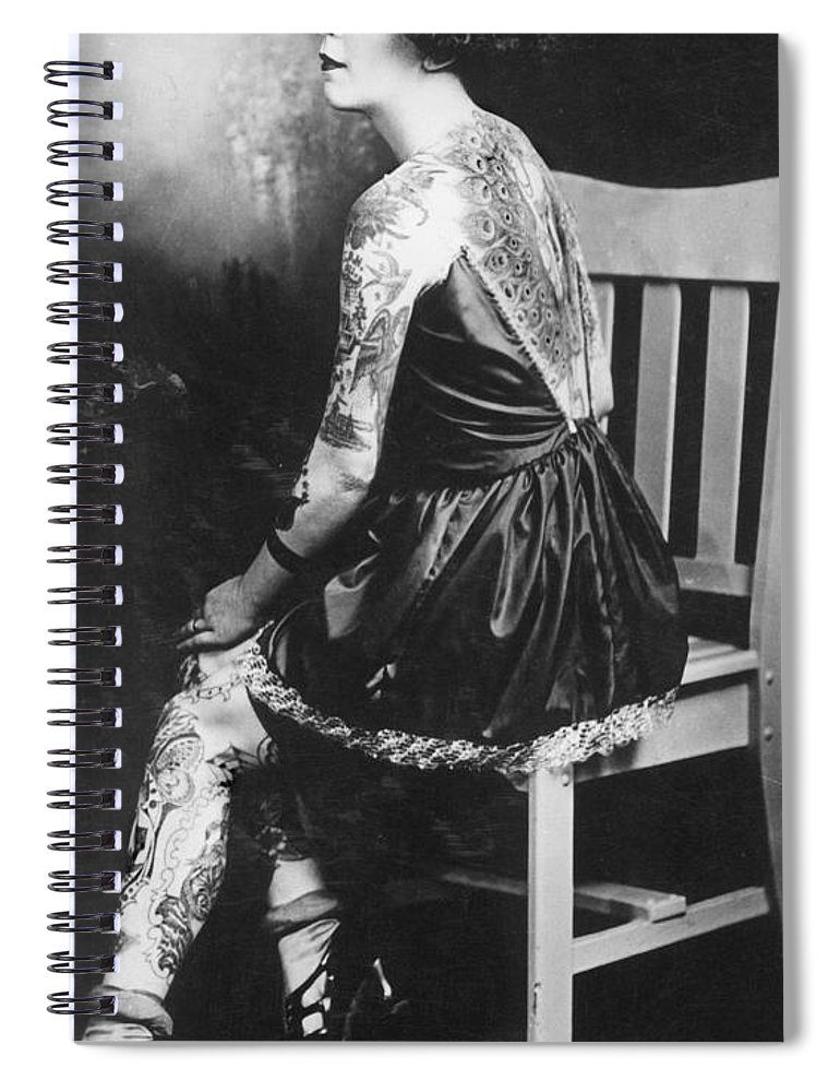 Photographs Spiral Notebook featuring the photograph Tattoo Woman by Larry Mora