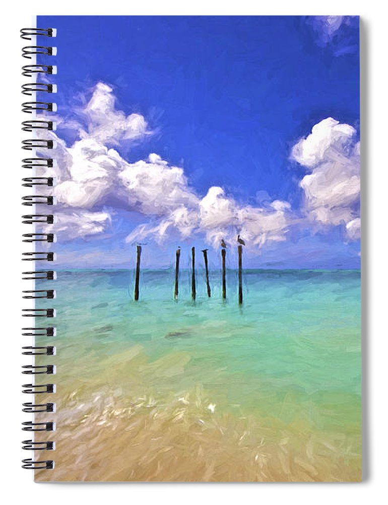 Seascape Spiral Notebook featuring the painting Pelicans Of Aruba by David Letts