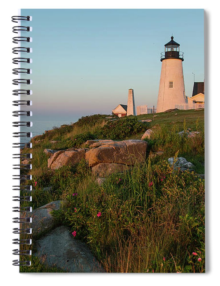 Tranquility Spiral Notebook featuring the photograph Pemaquid Point Maine Lighthouse by Dave Mention Photography