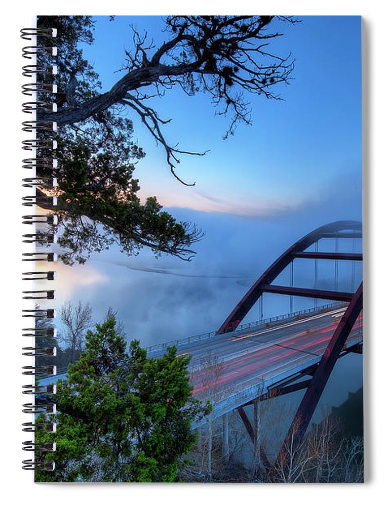 Tranquility Spiral Notebook featuring the photograph Pennybacker Bridge In Morning Fog by Evan Gearing Photography