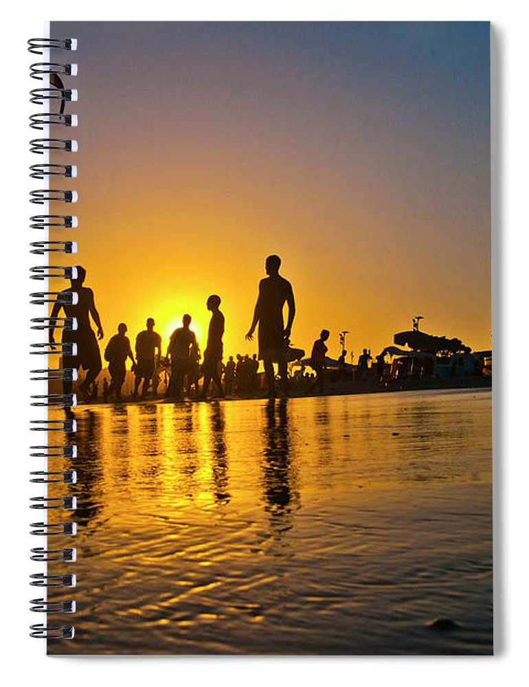 Parachuting Spiral Notebook featuring the photograph People Having Fun In The Beach by Giovani Cordioli