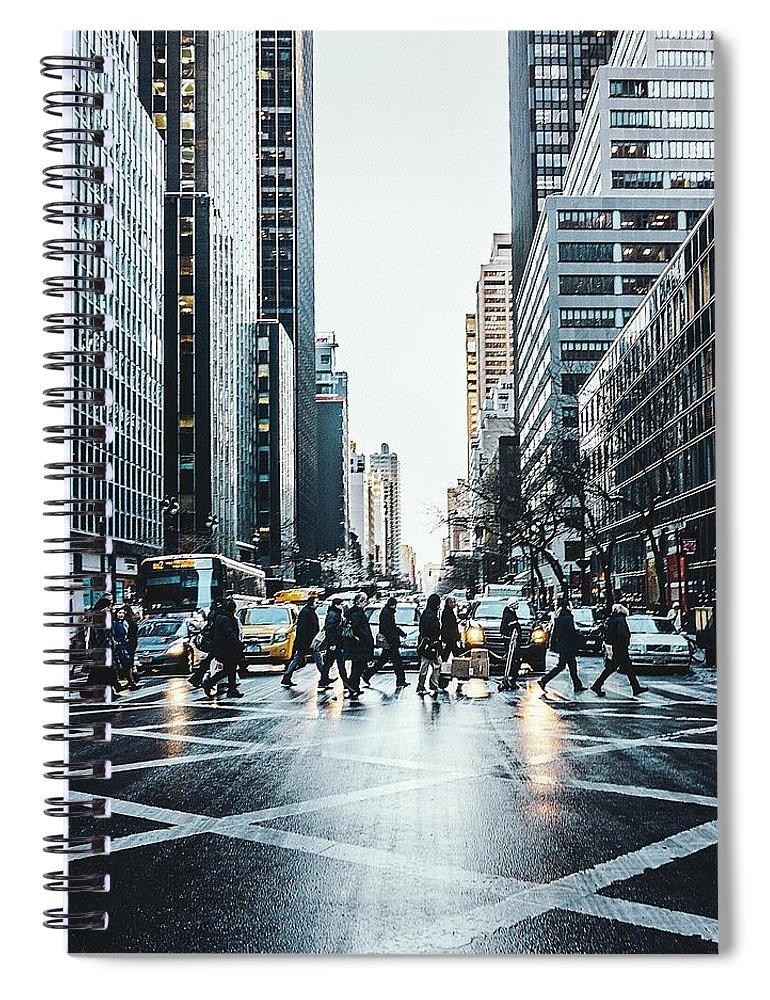 Pedestrian Spiral Notebook featuring the photograph People Walking On City Street by Sven Hartmann / Eyeem