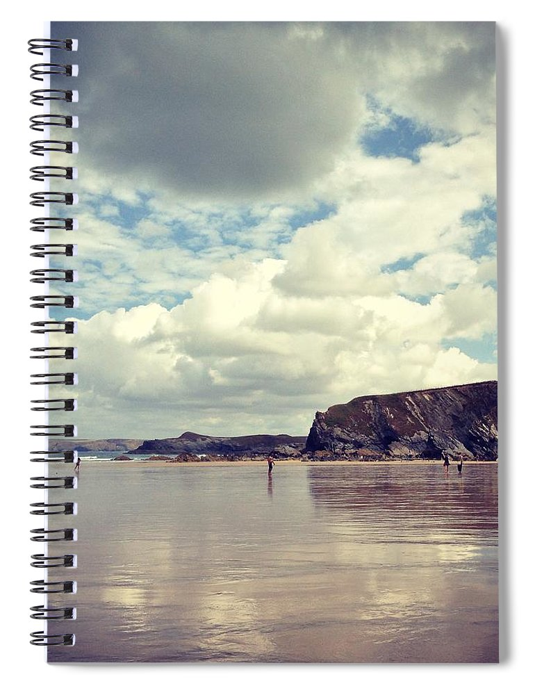 Mud Spiral Notebook featuring the photograph People Walking On Wet Sand On Cloudy by Jodie Griggs