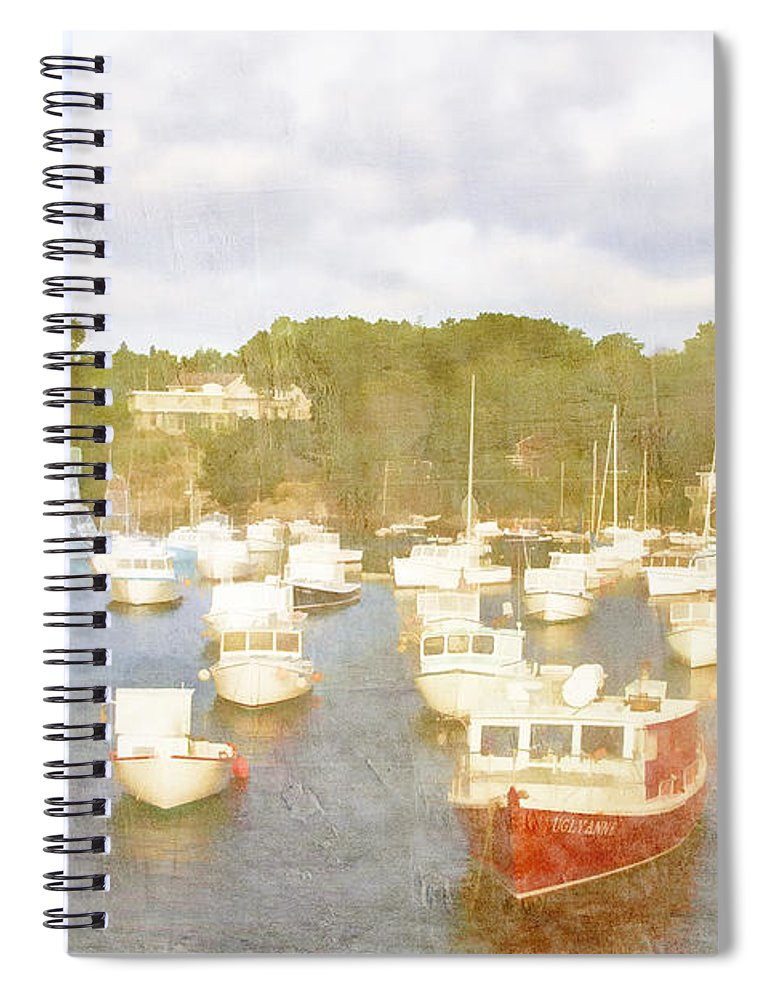 Perkins Cove Spiral Notebook featuring the photograph Perkins Cove Lobster Boats Maine by Carol Leigh