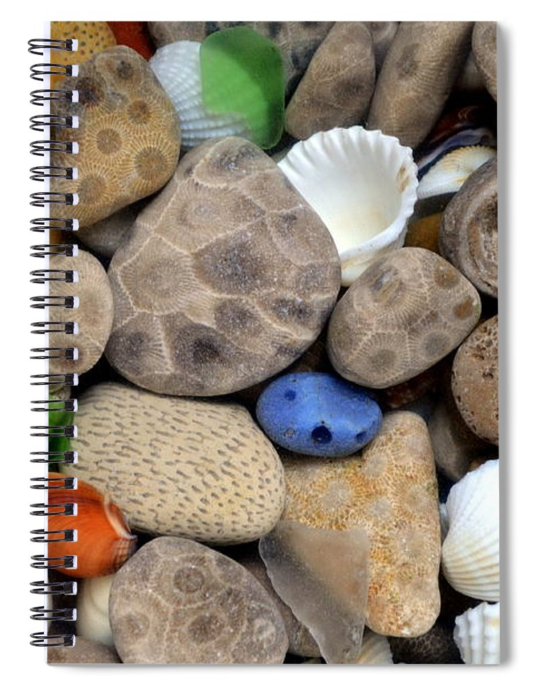 Stone Spiral Notebook featuring the photograph Petoskey Stones Lll by Michelle Calkins