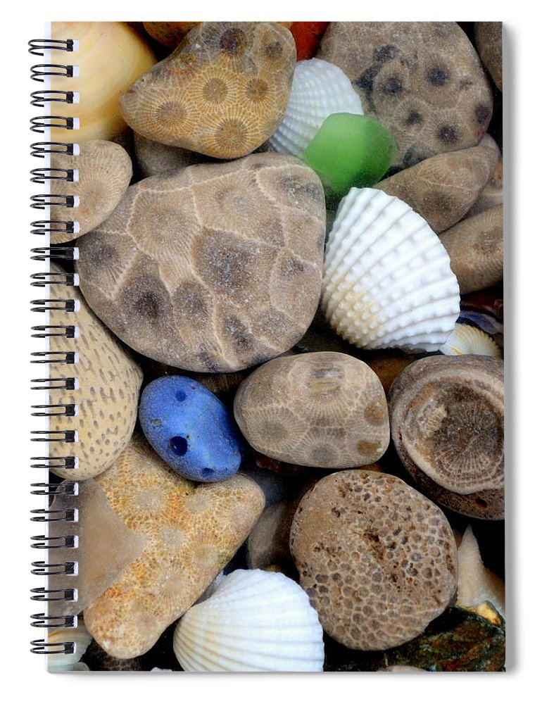 Square Spiral Notebook featuring the photograph Petoskey Stones V by Michelle Calkins