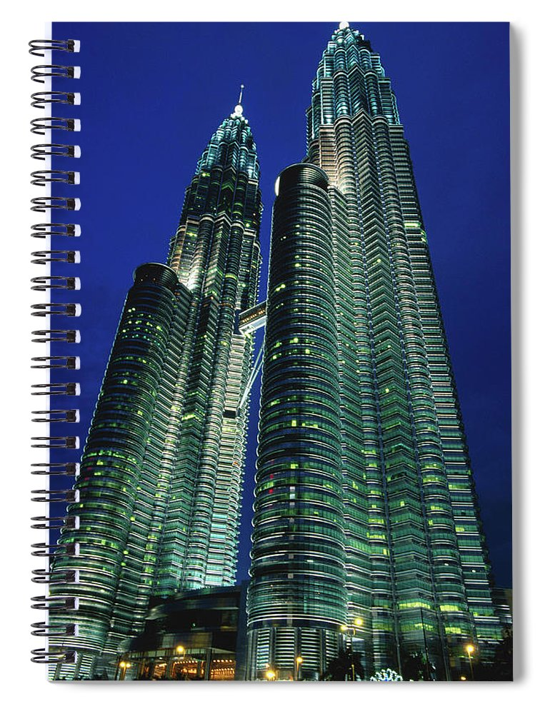 Southeast Asia Spiral Notebook featuring the photograph Petronas Towers by John Elk