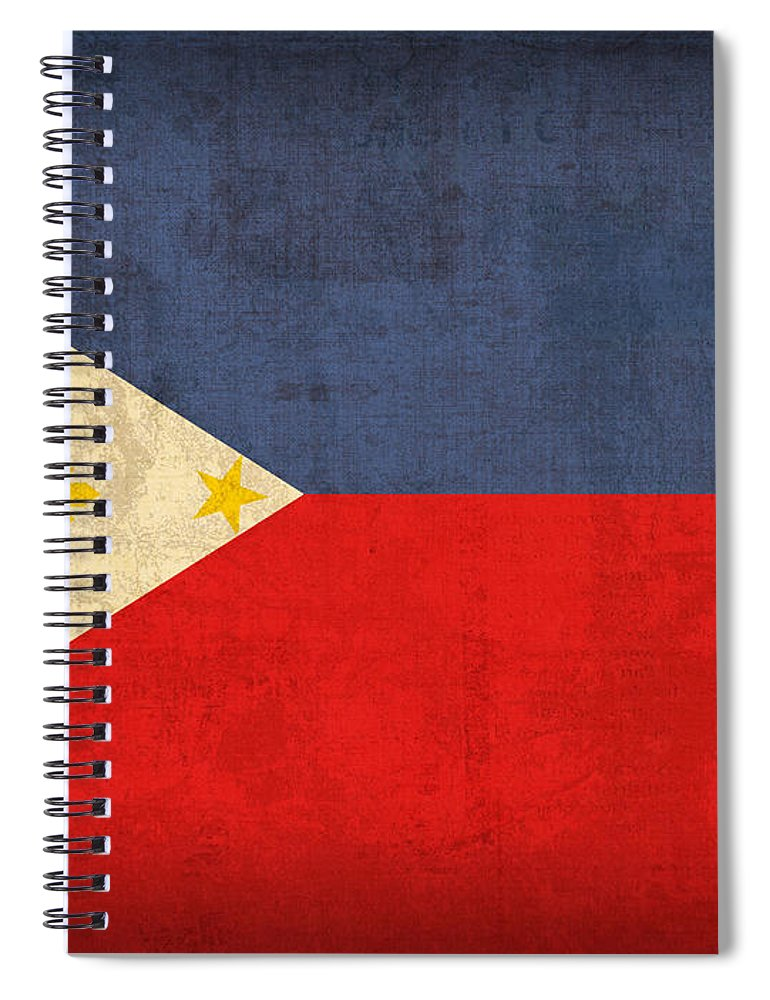 Philippines Spiral Notebook featuring the mixed media Philippines Flag Vintage Distressed Finish by Design Turnpike