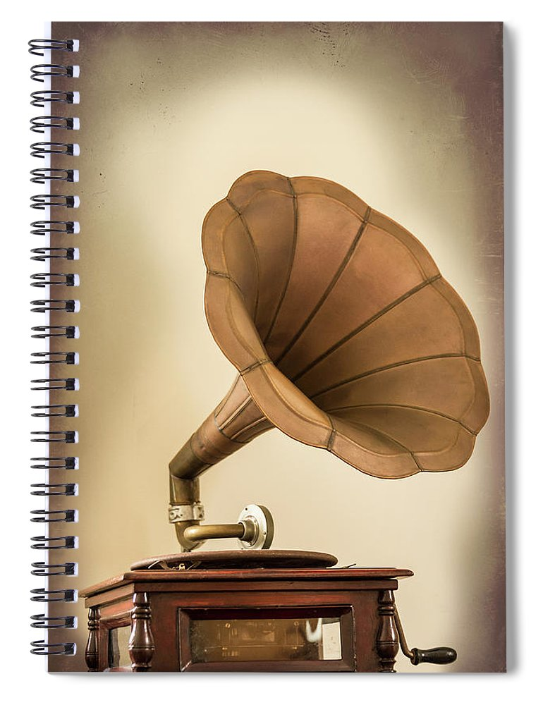 Music Spiral Notebook featuring the photograph Phonograph Record Player by Gary S Chapman