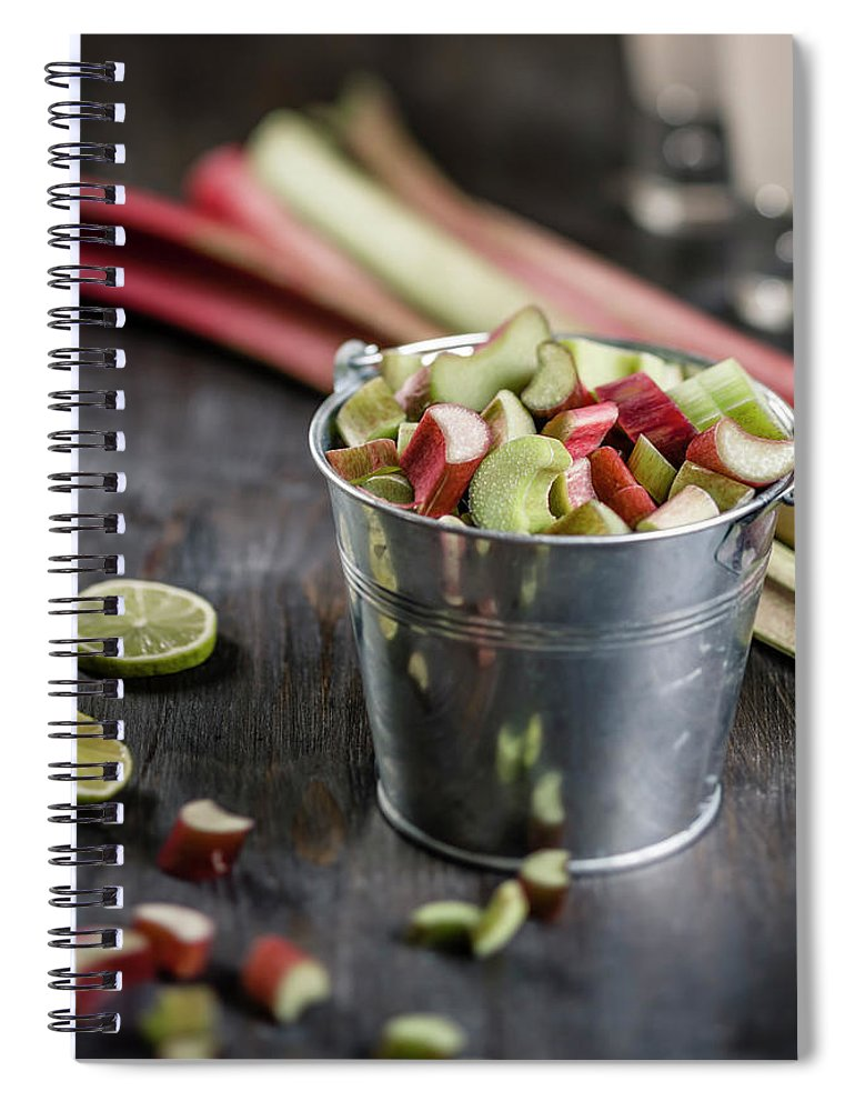 Bucket Spiral Notebook featuring the photograph Pieces Of Rhubarb In Metal Bucket And by Westend61
