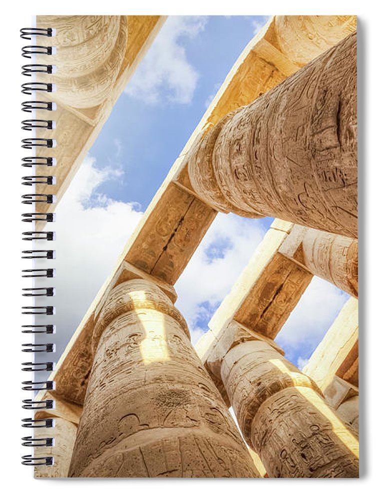 Ancient History Spiral Notebook featuring the photograph Pillars Of The Great Hypostyle Hall by Cinoby