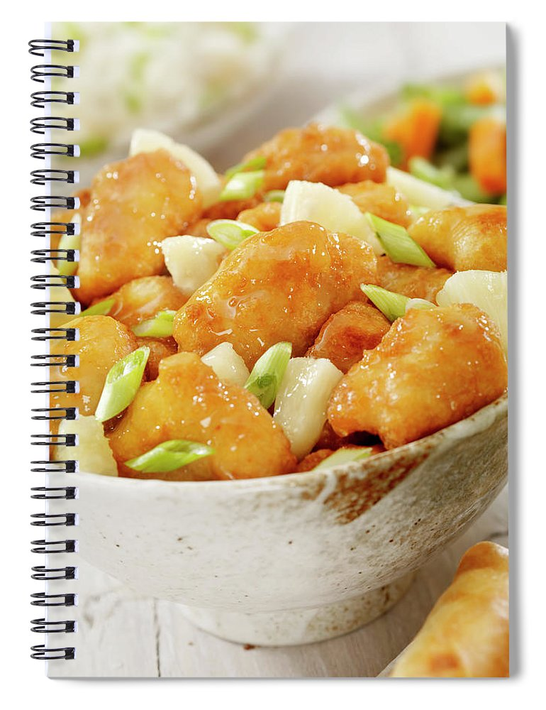 Lemon Chicken Spiral Notebook featuring the photograph Pineapple Chicken by Lauripatterson