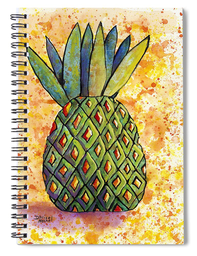 Fruit Spiral Notebook featuring the painting Pineapple Fun by Darice Machel McGuire