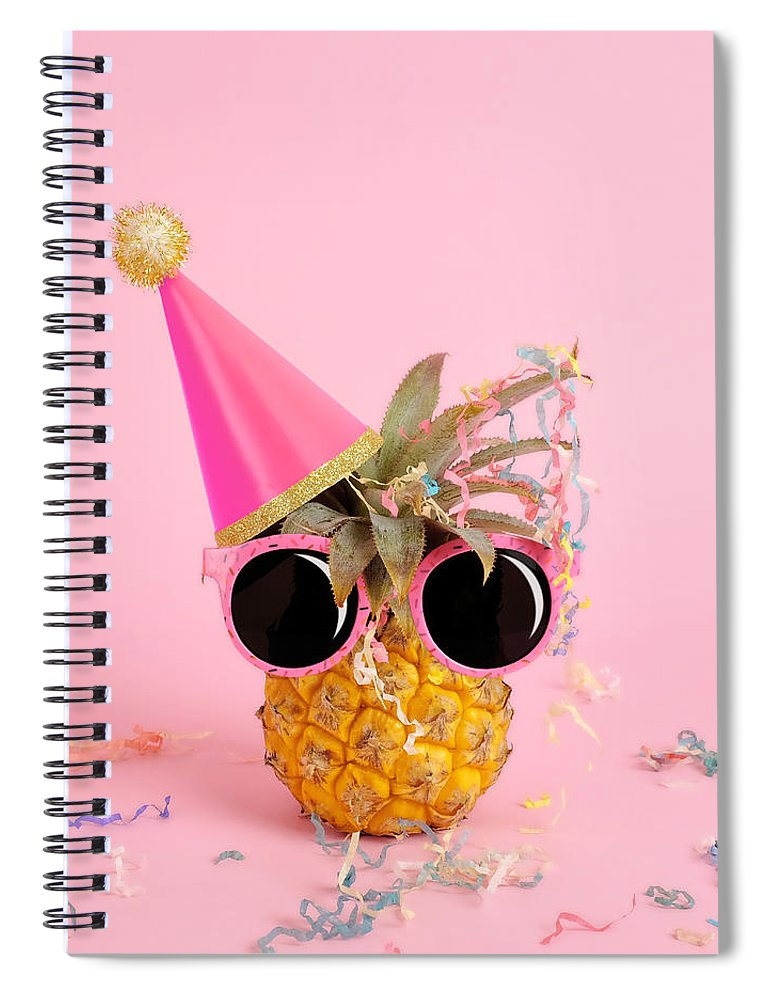 Celebration Spiral Notebook featuring the photograph Pineapple Wearing A Party Hat And by Juj Winn