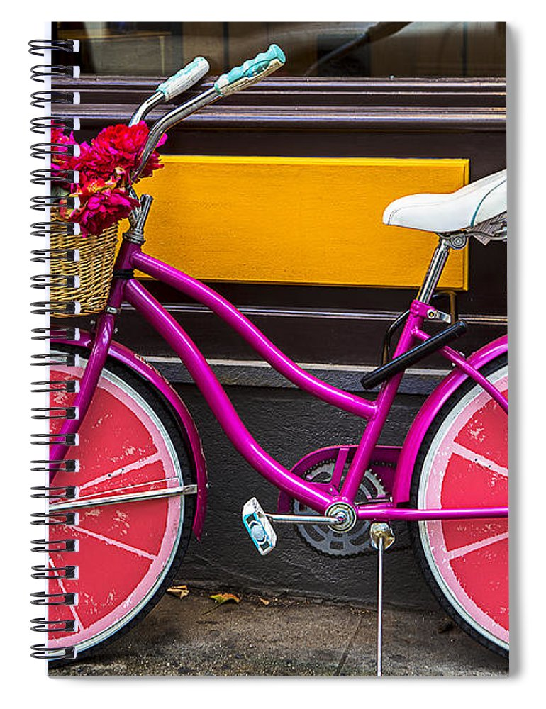 Pink Spiral Notebook featuring the photograph Pink Bike by Garry Gay